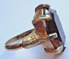 bague bijou vintage classique couleur or solitaire topaze fumée taille réglable