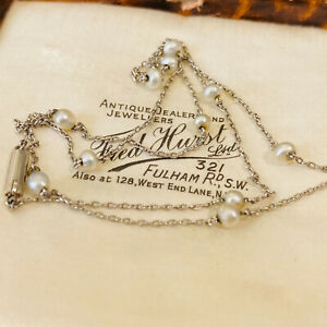 """Exquisite, Edwardian Platinum & natural Seed Pearl chain, Length: 17"""" / 43.5cm"""
