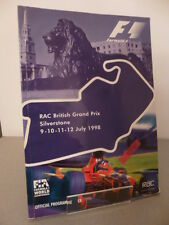Silverstone RAC British Grand Prix Formula 1 Official Programme 9th July 1998