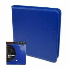BCW BLUE Gaming Card Z-Folio Zippered LX Leatherette Album with 12 Pocket Pages