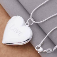 "925 Sterling Silver Womens 20"" Snake Chain Necklace And Heart Photo Locket D641C"