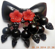 BLACK LUCITE BOW CHERRY BEADS CZECH GLASS LEAF BROOCH PIN Artist Made Retro