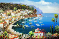 Catalina Island Avalon California Resort Boats Oil On Canvas Painting STRETCHED