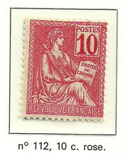 Timbre Y&T n°112, 10c rose, type Mouchon