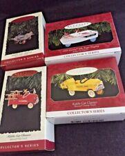 4 Hallmark Kiddie Car Classic Ornaments Dump Truck Fire Truck Airplane Boat New