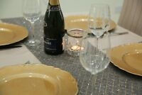 Long Grey & Gold Glitter Fabric Table Runner. 5 Meters Long Elegant