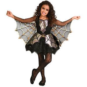 Girls Spider Costume Childs Halloween Fancy Dress Kids Bat Vampire Outfit