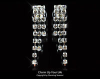 Awesome 18K White Gold Plated Clip On Tassel Earrings with Swarovski Crystals