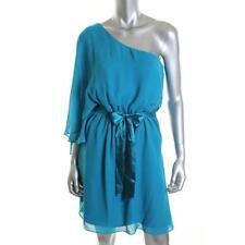 Laundry ~ Aqua Blue Chiffon Belted Drama Sleeve Cocktail Dress 4 NEW $138