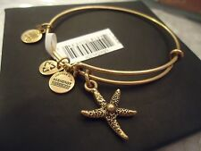Alex and Ani STARFISH Russian Gold Finish Charm Bangle New W/ Tag Card & Box