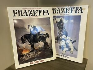 "FRANK FRAZETTA DEATH DEALER & THE SILVER WARRIOR PUZZLES, ""NEW - SEALED"" VTG"