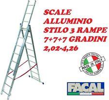 SCALA ALLUMINIO 3 RAMPE 7+7+7 GRADINI TELESCOPICA MT 2,02 A 4,26 ROBUSTA ITALY