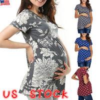 Women Maternity Short Sleeve Summer Casual T-shirt Tops Pullover Blouse Shirt