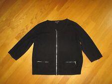 Ladies Eileen Fisher Black 100% Cashmere Zip Cardigan Sweater Size Medium