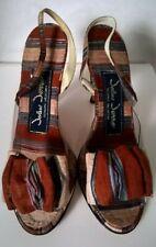 """Vtg 80's """"John Jerro"""" Brown/Multi Silk with Clear Body Open Toe Slingback Heels"""