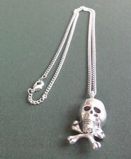 pewter pendant, skull & crossbones design, hand made, with surgical steel chain
