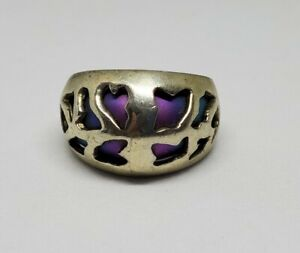 Sterling Silver Rainbow Titanium Cutout Wide Dome Ring 925 Sz 6