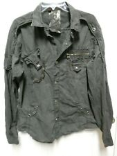 F.U.S.A.I mens shirt Focus USA snap front sz L Large long sleeve black