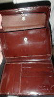 Italian Nicole Farhi Calf Leather Purse Brown Patent Premium Hide Designer