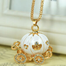 White Pumpkin Sweater Bead Necklace Rhinestone Crystal Pendant Chain Lover Gift