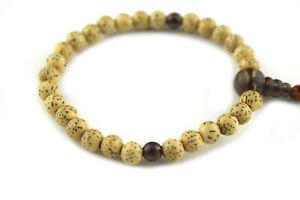 Bodhi Seed Wood&Smoky Quartz Crystal Japanese Juzu Bracelet Prayer Mala beads