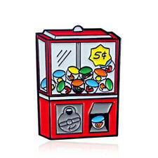 Red Game Machine Enamel Pin Grab Toy Arcade Game Brooch Button Badge Kids Gifts