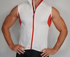 MEN'S USED Zip Short Sleeve Cycling Jersey WHITE & RED Size M