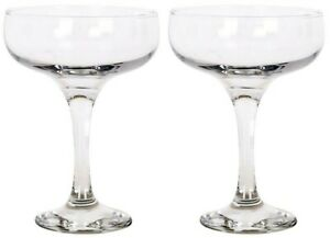 Set of 2 - Glass Champagne Glasses Saucers 235ml Coupe Gift Box