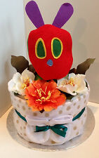 1 Tier Luxury Unisex Hungry Caterpillar Nappy Cake #Baby Shower #Christening