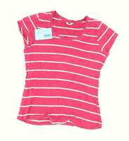 M&Co Womens Size 14 Striped Cotton Burgundy T-Shirt (Regular)