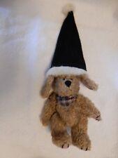 Boyds Archive Collection Indy Dog W/ Blue Santa Hat Plush Stuffed Animal Euc