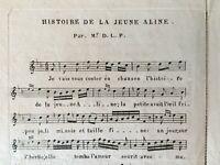 Partitura Histoire de La Juvenil Aline Por D. L. P. Música Utolme De Beckers