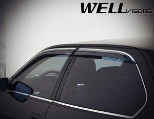 WellVisors  For 95-00 Lexus LS400 W/ Chrome Trim Side Window Visors Deflectors
