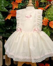 DREAM 0-7 YEARS BABY GIRLS CREAM PINK TRIM SPANISH DROP WAIST LINED DRESS
