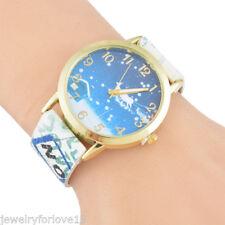 Damen Uhr Armbanduhr Quarzuhr Lederband Strass Weihnachten Vergoldet  FL