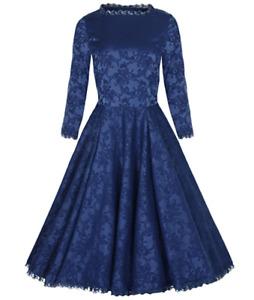 Lindy Bop 'Antoinette' Blue Brocade Lace Trim Romantic Dress BNWT Size 20