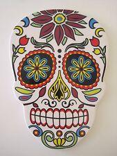 "LARGE Day of the Dead Dia de los Muertos Ceramic SUGAR SKULL Trivet Plate  10"""