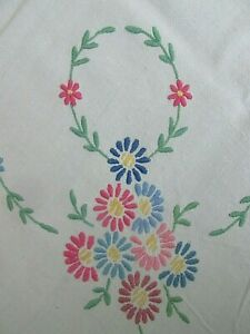 """Pretty Vintage Hand Embroidered  Tablecloth~Flower Motifs~45"""" x 47"""""""
