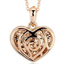 "Rose gold finish clear heart pendant 18"" necklace quality jewellery UK bridal"