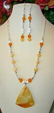 A BEAUTIFUL YELLOW STRIPED AGATE STONE PENDANT BEADS HANDMADE NECKLACE with EARR