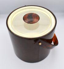 Vintage Georges Briard Ice Bucket Tortoise with Lucite Handle & Lid Mcm Barware