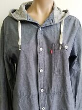 Levi's Mens or UniSex Denim Hooded Button up Long Sleeve Shirt Size Small