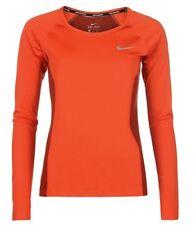 Nike MERIGGI corsa Donna Camicia a maniche lunghe ARANCIONE TAGLIA L