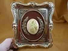 CFL19-20) FRAMED CAMEO MADONNA Mary Jesus Victorian brass desk shelf wall art