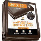 30' x 40' Super Heavy Duty 16 Mil Brown Poly Tarp cover - Thick Waterproof