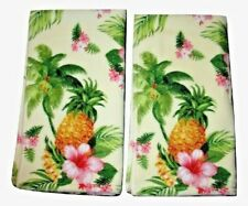 2 Tommy Bahama Summer Vacation Pineapple Hand Towels Yellow Green Palm Floral