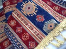 """Anatolian Kilim Patterned Table Runner 55""""x17"""" Handmade Navy Tile Red Jacquard"""