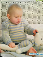 KNITTING PATTERN Baby Striped Jumper Matching Blanket + Mouse Toy Sublime DK