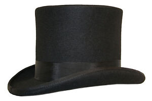 High Quality Hand Made Black Wool Top Hat Felt Wedding Ascot Hat Sizes S to XXL