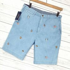 ⭐ Mens Polo Ralph Lauren relaxed fit embroidered varsity preppy shorts size W32